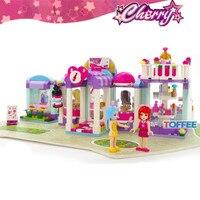 487ピース市美容ショップチェリーシリーズ女の子友人プリンセスハウス建物ブロックセットフィギュアギフト互換おもちゃキッド子