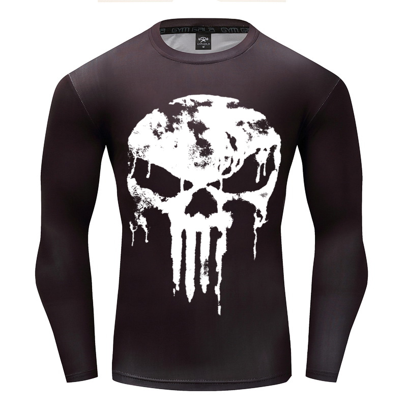 2018 New Design Compression 3D Printed Men Long Sleeve T-shirts Punisher Flash Cosplay Costume Fitness Clothing Tops Male