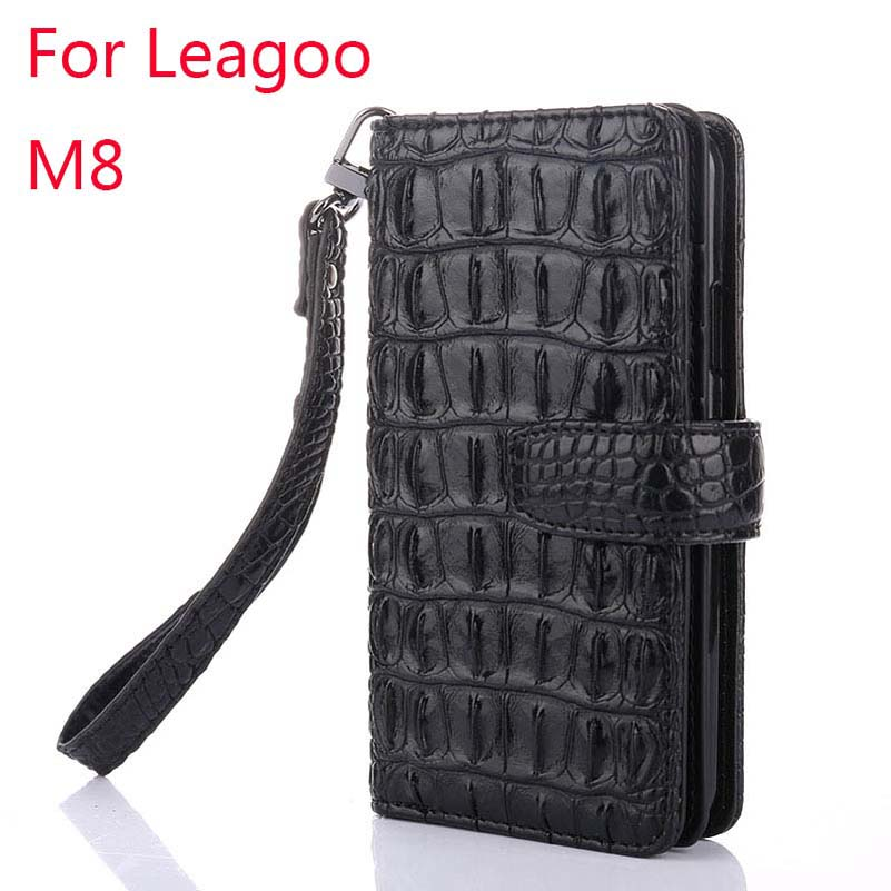 For Leagoo <font><b>M8</b></font> Original K&#8217;try 3D Bump Alligator Crocodile Skin Leather <font><b>Phone</b></font> Case Holster Bag Multi-Function Cover Cases