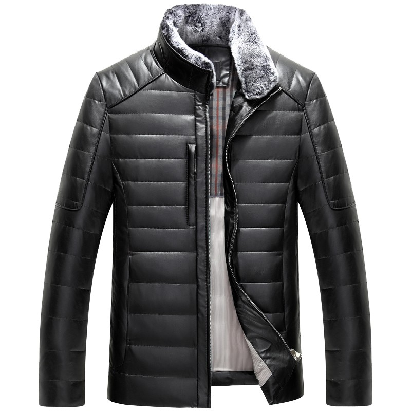 1309 Mens Winter Leather Jacket Men White Duck Down Coats sheepskin leather jacket Man Winter Coat