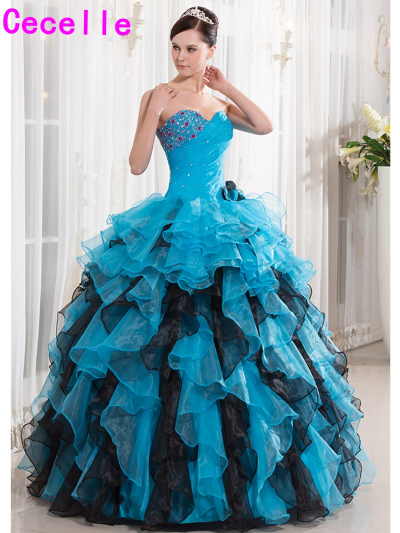2017 Turquoise Black Ball Gown Quinceanera Dresse Long Ruffles ...
