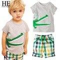 ELE Olá Desfrutar de Meninos roupas set 2016 meninas roupas Casuais crianças cinza (padrão animal T-Shirt + calça Xadrez) conjuntos de roupas meninas