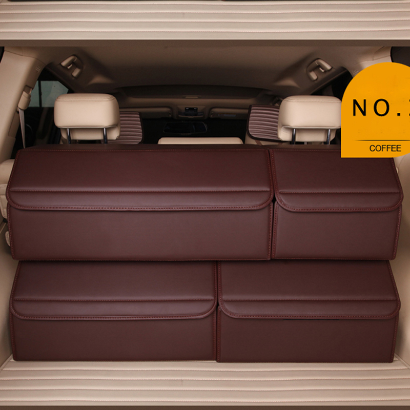 E FOUR 66 Liter Super Large Car Trunk Storage Box PU Leather with Foam Plate Board