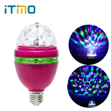 ITimo RGB Crystal DJ Club Disco Light Stage Light Colorful Auto Rotating Commercial Lighting LED Magic Ball Lamp E27  Home Decor