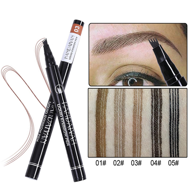 Liquid eyebrow pencil Waterproof Long Lasting 4 Fork microblading Eyebrow Tattoo Pen crayon sourcil wunderbrow Pen Tint Makeup 4