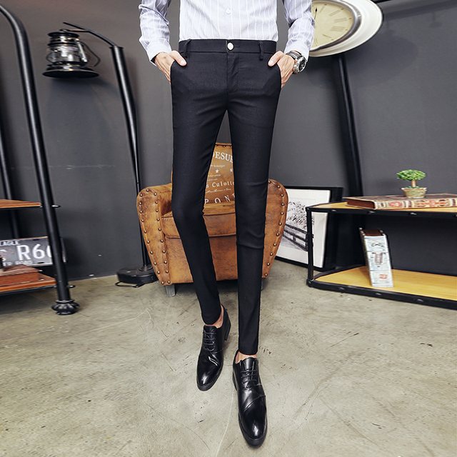 2020 New Pantalon Homme Korean Fashion Solid Pants Men Slim Fit Casual Elastic Streetwear Suit Pant Long Trousers Men Clothing 3
