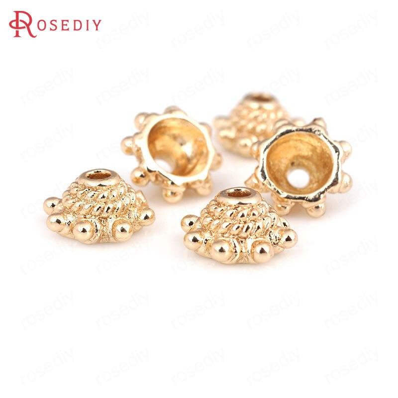 10 Pcs 8 Mm 24 K Champagner Gold Farbe Überzog Messing Perlen Kappen Quaste Kappen Hohe Qualität Diy Schmuck Zubehör Erfrischung