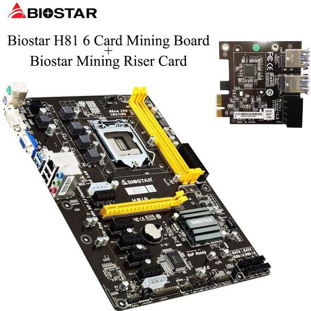 BIOSTAR H81A BTC Mining Motherboard 6 PCI E Video Card Dedicated LGA 1150