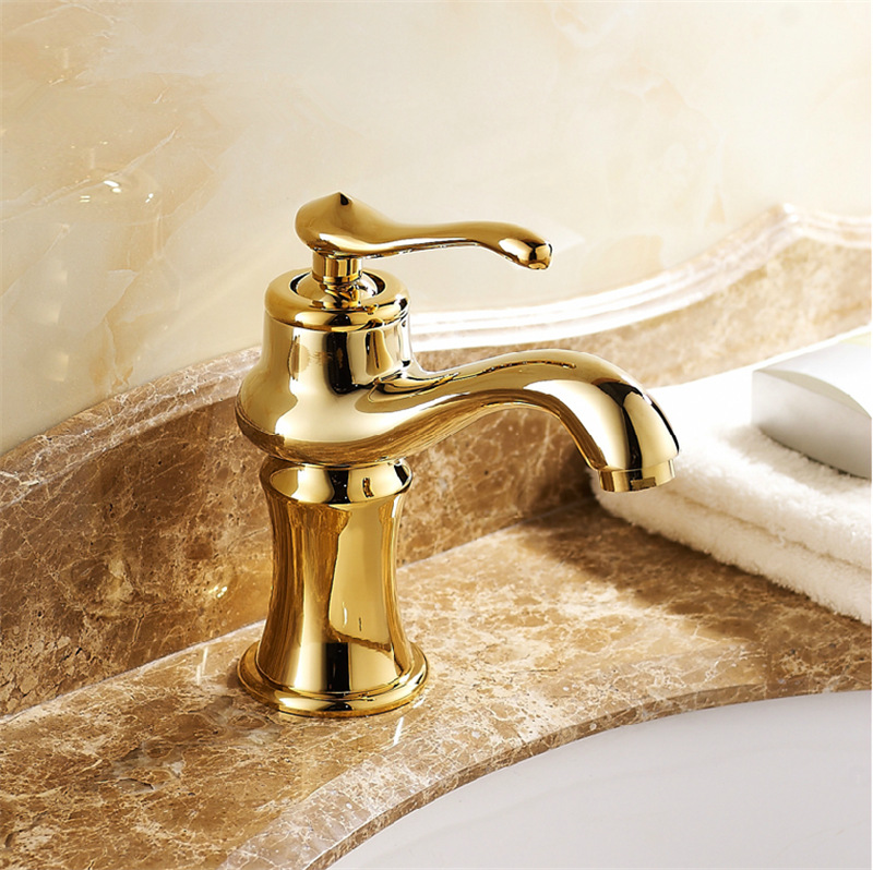 Free Shipping High End Bathroom Sink Faucet European Design Brass Gold Bathroom Faucets With