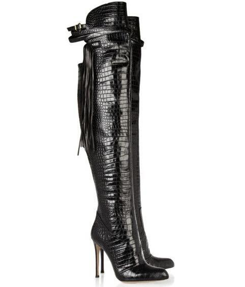 Winter Autumn newest fashion boots over the knee high thin heels pointed toe fringe decoration ultra thigh thin boots black