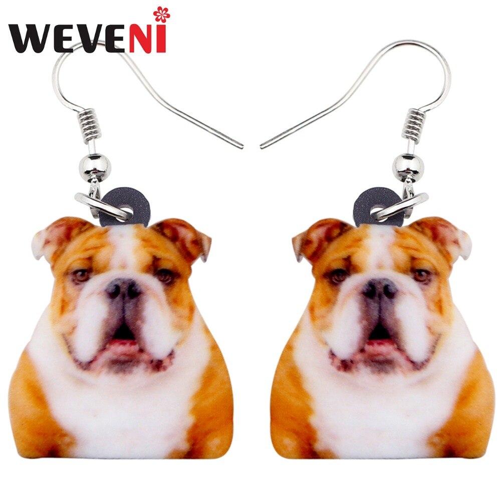 WEVENI Acrylic Novelty British Bulldog Dog Earrings Big Long Dangle Drop Fashion Animal Jewelry For Women Girls Ladies Kids Gift