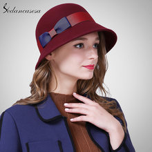 ea63e54a67e04 Sedancasesa nueva Cloche sombrero del 100% lana australiana cubo sombrero  caliente de fieltro de lana sombrero Otoño Invierno FW.