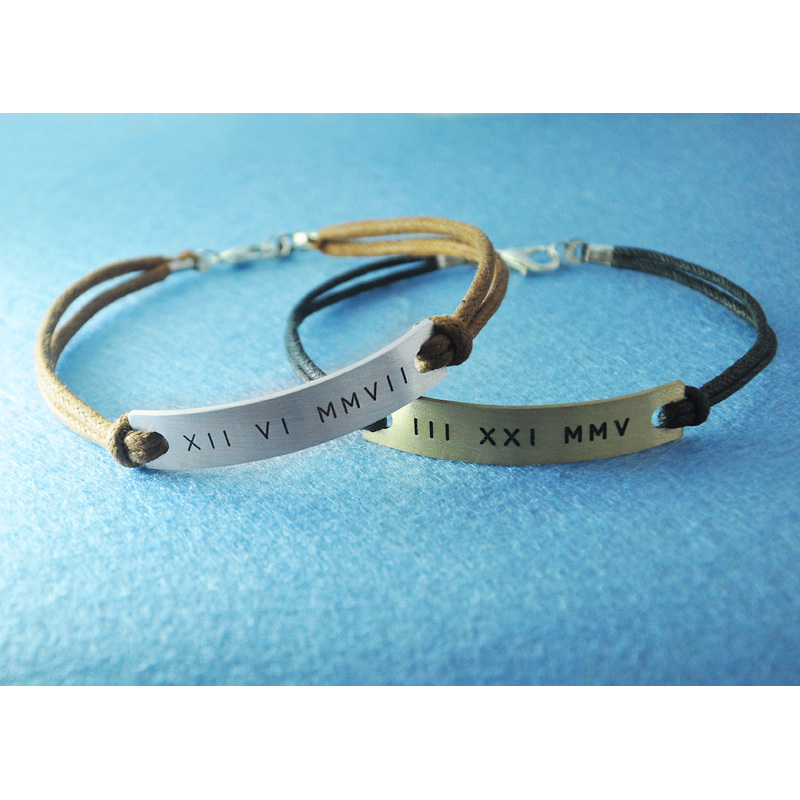 Aliexpress Com Custom Couples Bracelet Customized Roman Numeral Engraved Personalized Date Set From