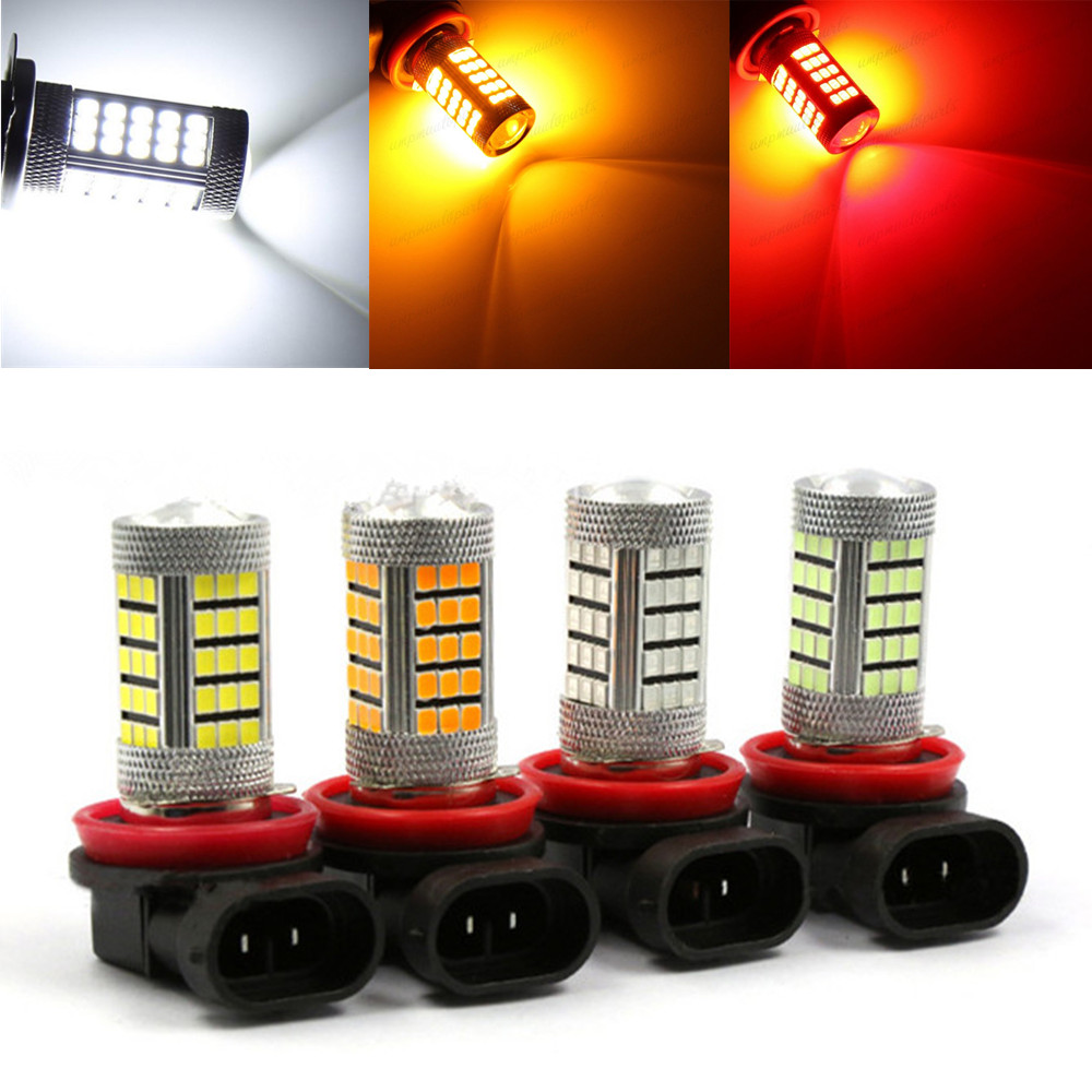 CYAN SOIL BAY H11 H8 2835 66 SMD LED 6000K Auto Projector Fog Daytime Driving Light Bulb White Red Amber Car Bright Than 33 SMD car vehicle h16 5202 2835 63 smd 1200lm amber yellow orange bulb fog light headlights for drl 6000k 12v 24v bright than 33 smd