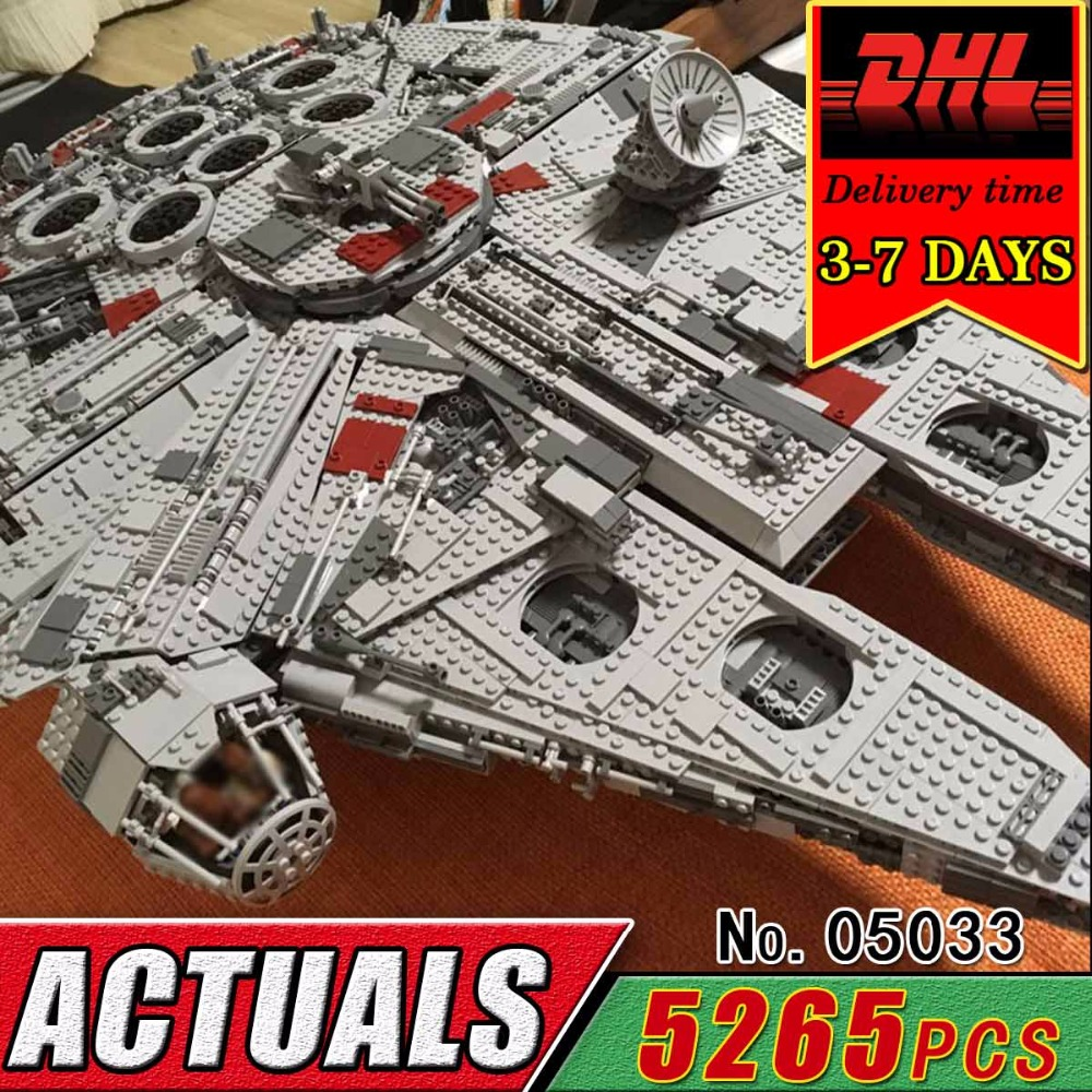 DHL LEPIN 05033 Star Millennium Falcon Building Blocks Model Kit Military Wars Bricks Compatible 10179 Toy For Children 5265pcs lepin 05035 star wars death star limited edition model building kit millenniums blocks puzzle compatible legoed 75159