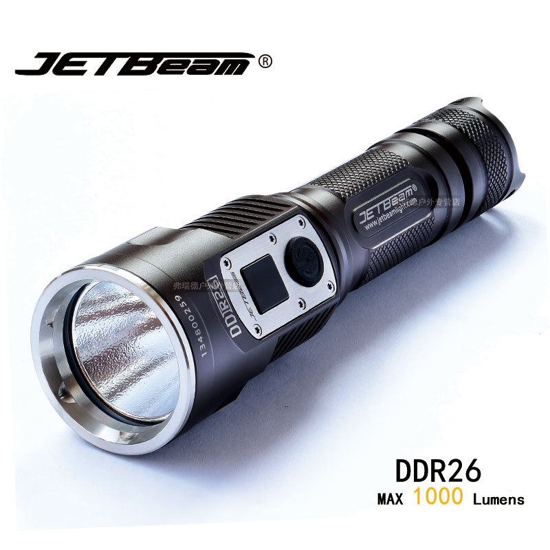 JETBEAM DDR26 Tactical Flashlight Cree XM-L2 LED 1000 lumens Rechargeable Digital Display Flashlight Compatible w/18650 Battery jetbeam c8 rechargeable led flashlight torch 1000 lumens cree xm l2 for outdoor search sescue hiking camping with 18650 charger