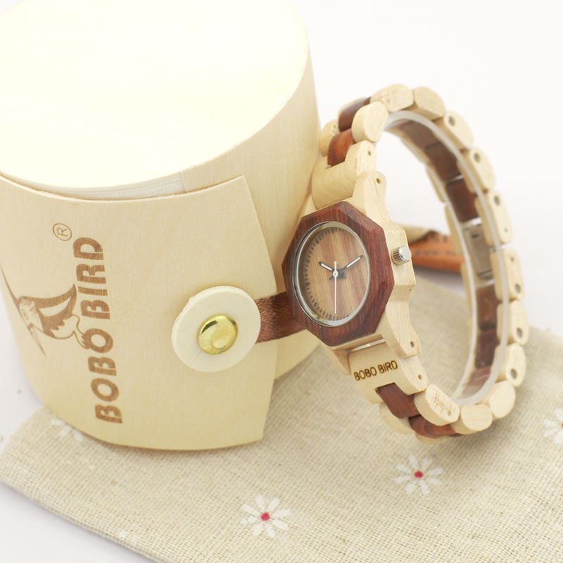 2017 New Brand BOBO BIRD Women Watches Octagon Wooden Watch Ladies Bracelet Wristwatch relogio feminino B-M26 2017 new design bobo bird luxury brand women wood watches bamboo quartz wooden watch relogio feminino c d21