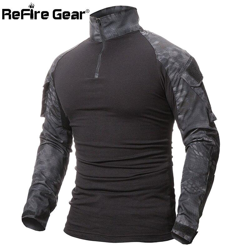 ReFire Gear Tactical Camouflage Military T Shirt Men Multicam US Army Combat Shirt Assault Camo Militar Uniform Airsoft T Shirt 4
