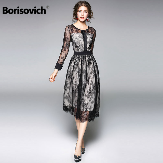 8e35e33bf1f Borisovich Luxury Black Lace Women Dress New Arrival 2018 Spring Fashion  O-neck Elegant Slim Ladies Evening Party Dresses M086