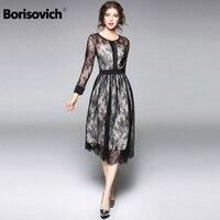 Borisovich Luxury Black Lace Women Dress New Arrival 2018 Spring Fashion O neck Elegant Slim Ladies Evening Party Dresses M086