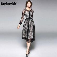 Borisovich luxo preto rendas vestido feminino nova chegada 2018 primavera moda o pescoço elegante magro senhoras vestidos de festa à noite m086