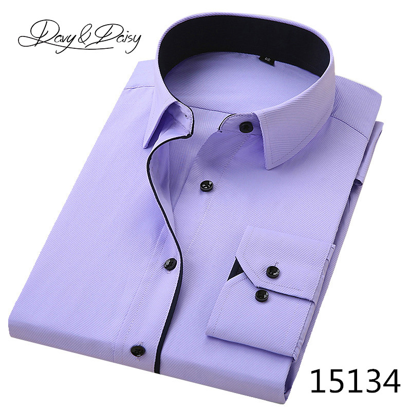 DAVYDAISY High Quality Men Shirt Long Sleeve Twill Solid Formal Business Shirt Brand Man Dress Shirts DS085 11