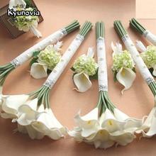 Прекрасная искусственная 15 шт. Калла Kyunovia, цветы подружки невесты, свадебная бутоньерка, свадебная бутоньерка D75