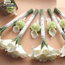 Kyunovia 아름다운 진짜 접촉 pu 인공 15 pcs 칼라 릴리 신부 들러리 꽃 결혼식 boutonniere 신부 결혼식 bouqute d75