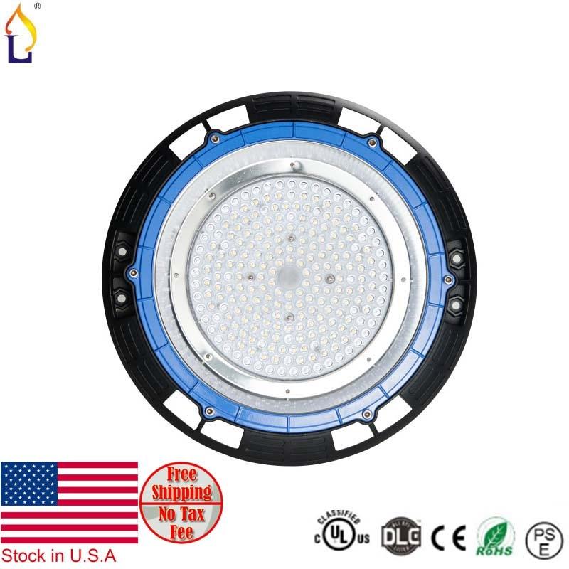 Stock in USA UL DLC led UFO high bay light 100W Industrial light AC85-265V ip65 5 years warranty ufo ceiling light 5pcs/lot 1 year warranty in stock 100