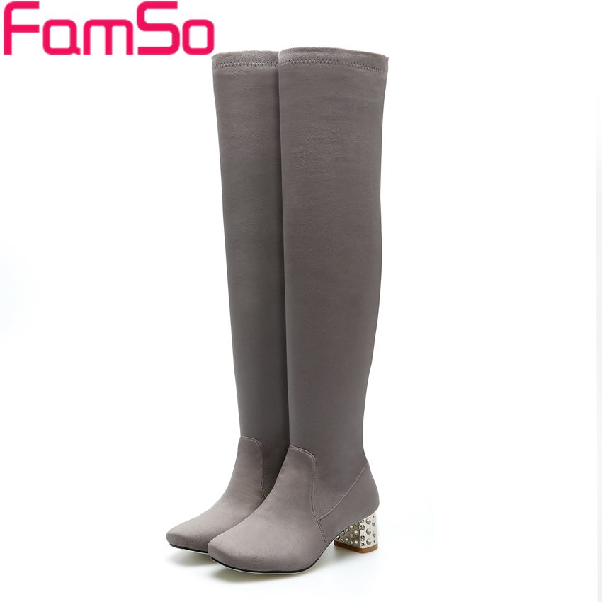 ФОТО Size 34-43 2017 New Classics Boots black red gray top Fashion Over the knee Boots Thick Heels Winter Warm Snow Boots  ZWB4280