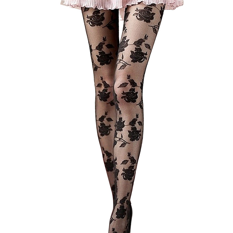 snowshine YLI Rose Sexy Panty Hose Black FREE SHIPPING