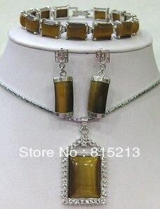 Haben Sie Einen Fragenden Verstand Ddh0725 Tigerauge/tigerauge Armband Ohrringe Halskette Schmucksets Edler Schmuck