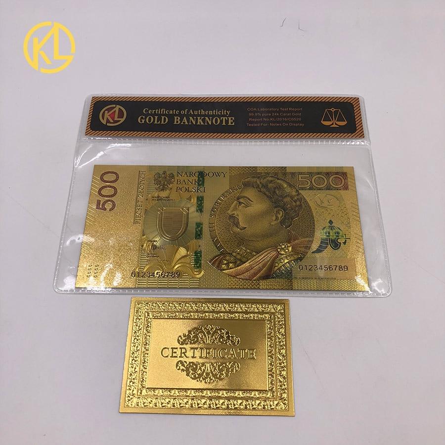 1 шт. unised 1994 Edition Poland Currency designed цветной 24 K позолоченный банкнот 500 PLN для банка подарочные сувениры - Цвет: Золотой