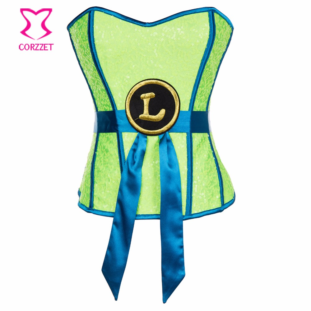 Neon Green Lantern Women Superhero Sequin Bustier Corset Mask Set Gothic Clothing Burlesque Costumes Sexy Corsets and Bustiers