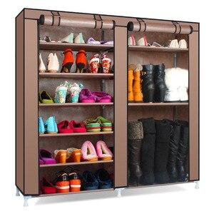 Image 1 - שורות זוגי גדול נעלי ארון אחסון שאינו ארוג בד נעלי ארגונית מדף DIY הרכבה אבק הוכחה נעלי מדפים נעל Rack