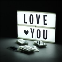 Mayli DIY A5 Cinematic Light Box 90 Letters Cinema LED Letter Lamp Battery Operated Wedding Party