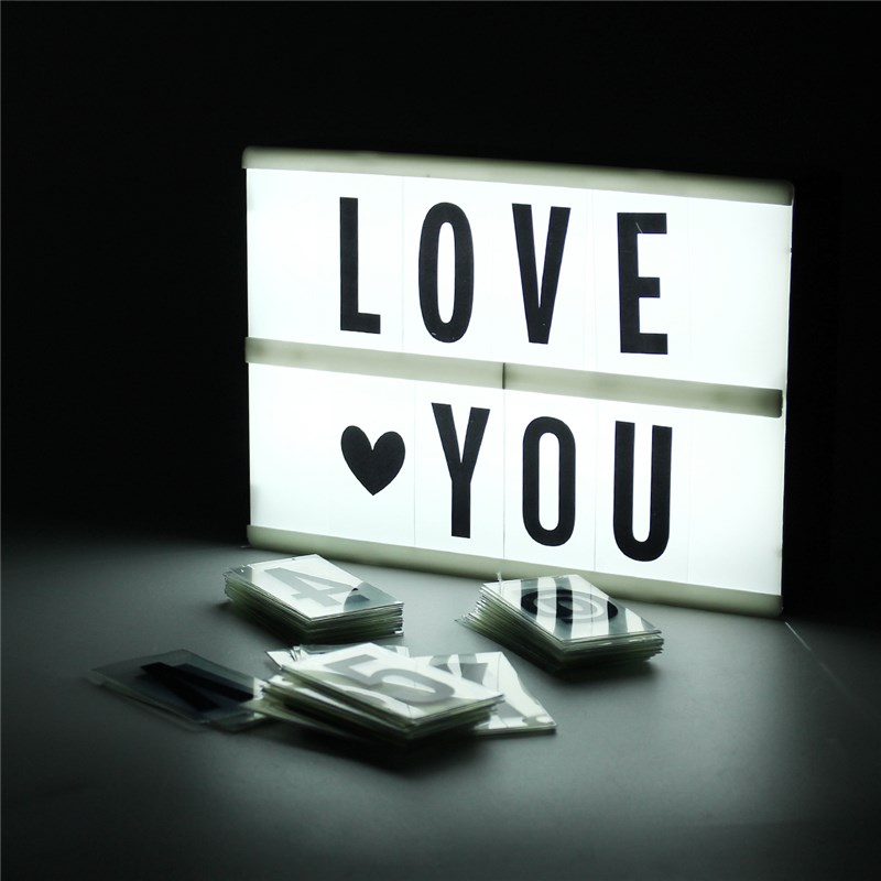 DIY A5 Light Box 90 Lettere Cinematografica Cinema LED Lettera Lampada A Pile della Festa Nuziale Home Decor Con Cavo USB