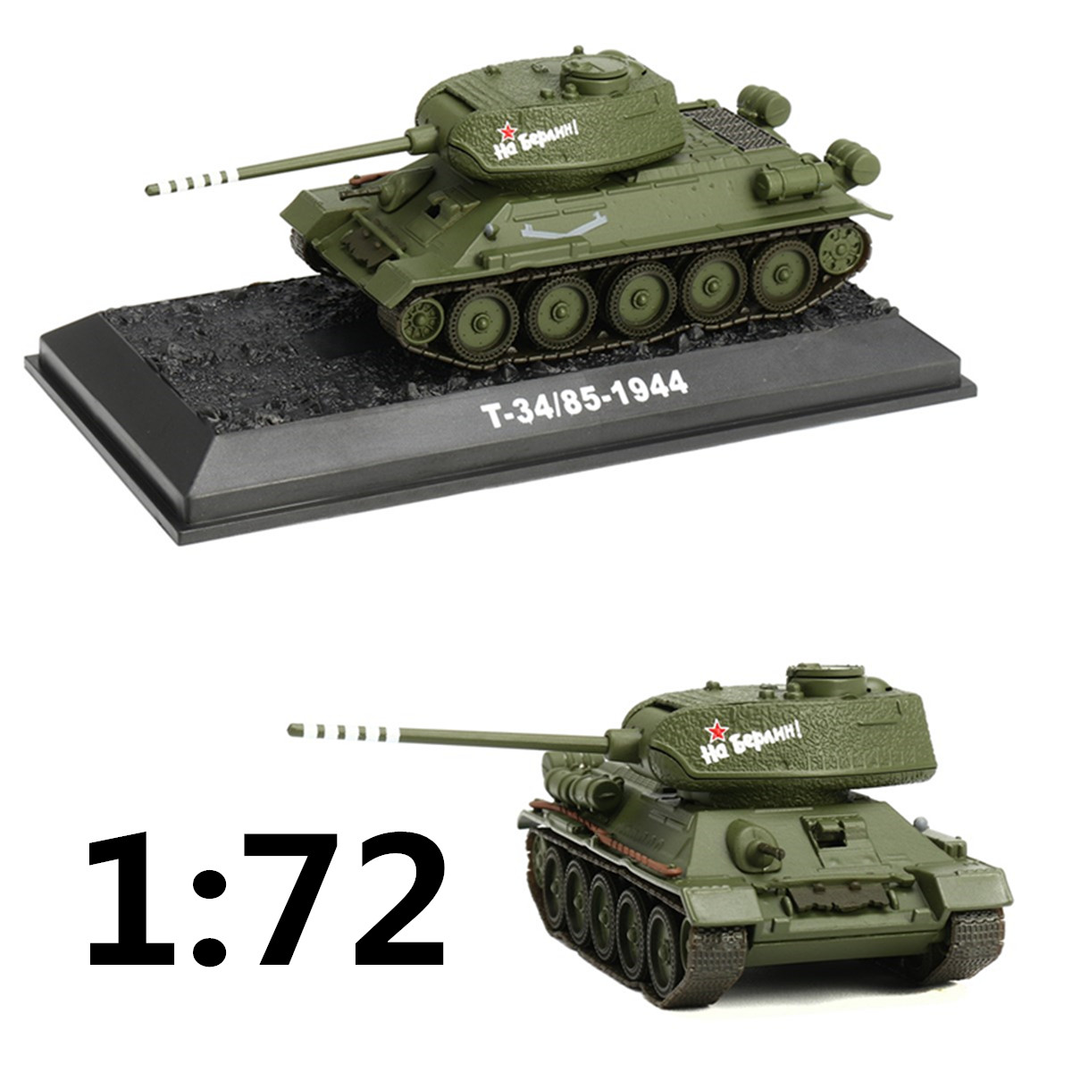 WWII Russian <font><b>T34</b></font>/85-1944 1/72 Scale <font><b>Tank</b></font> <font><b>Model</b></font> Plastic Army Green Mini <font><b>Tank</b></font> Children Toys Gift For Kid Boy image