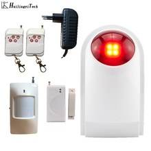 цена на HuilingyiTech 110dB Indoor Outdoor Wireless Flashing Siren Strobe Light Siren Home Alarm Security System