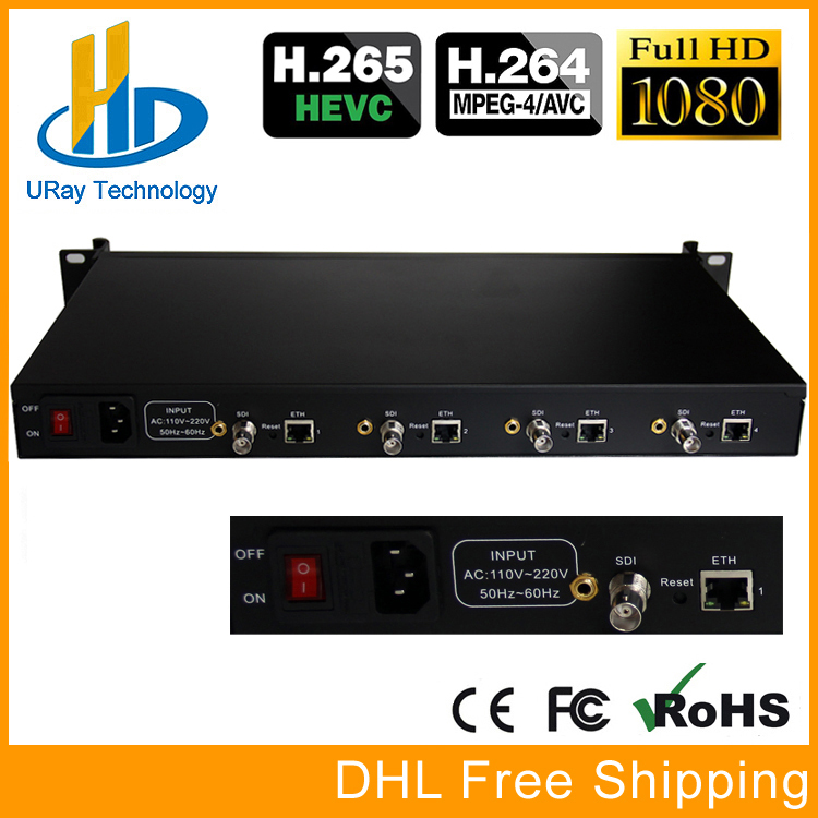 DHL Free Shipping 4 Channels HD /3G SDI Encoder H.265 /H.264 SDI Streaming Encoder IPTV HD-SDI IP Audio Video Encoder H265 /H264 uray 4 channels hevc h265 hd sdi 3g sdi iptv encoder streaming sdi to ip encoder server udp multicast sdi encoder hardware h264