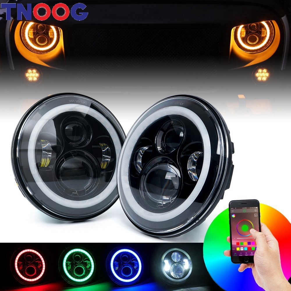 7 inch LED RGB Headlight 7 Round DRL Headlamp Flashing RGB Angel eye halo ring Bluetooth Controlled for Jeep Wrangler Lada Niva