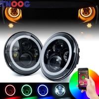 7 Inch LED RGB Headlight 7 Round DRL Headlamp Flashing RGB Angel Eye Halo Ring Bluetooth