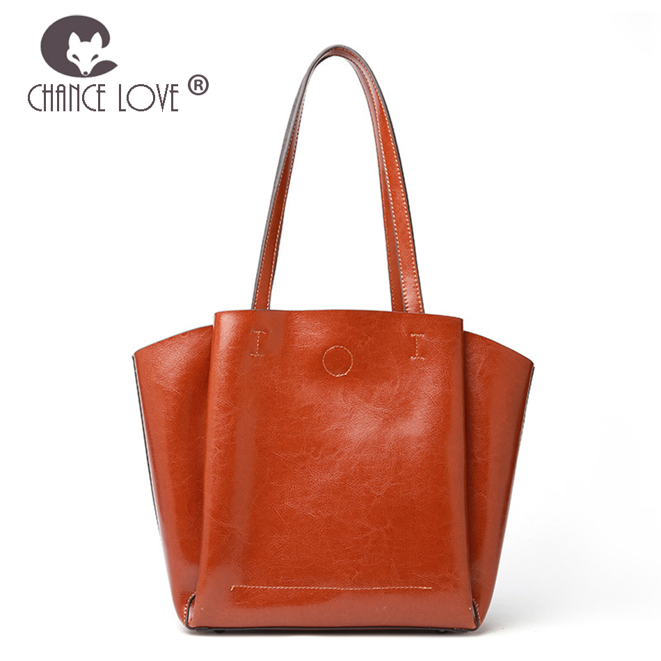 Chance Love 2018 new women fashion Genuine leather casual Tote handbag large capacity bag shoulder bag solid color soft bag ladylike women s tote bag with solid color and daisy embossing design