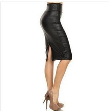 Midi High Waist Faux Leather pencil Skirt for Shemale & Crossdresser