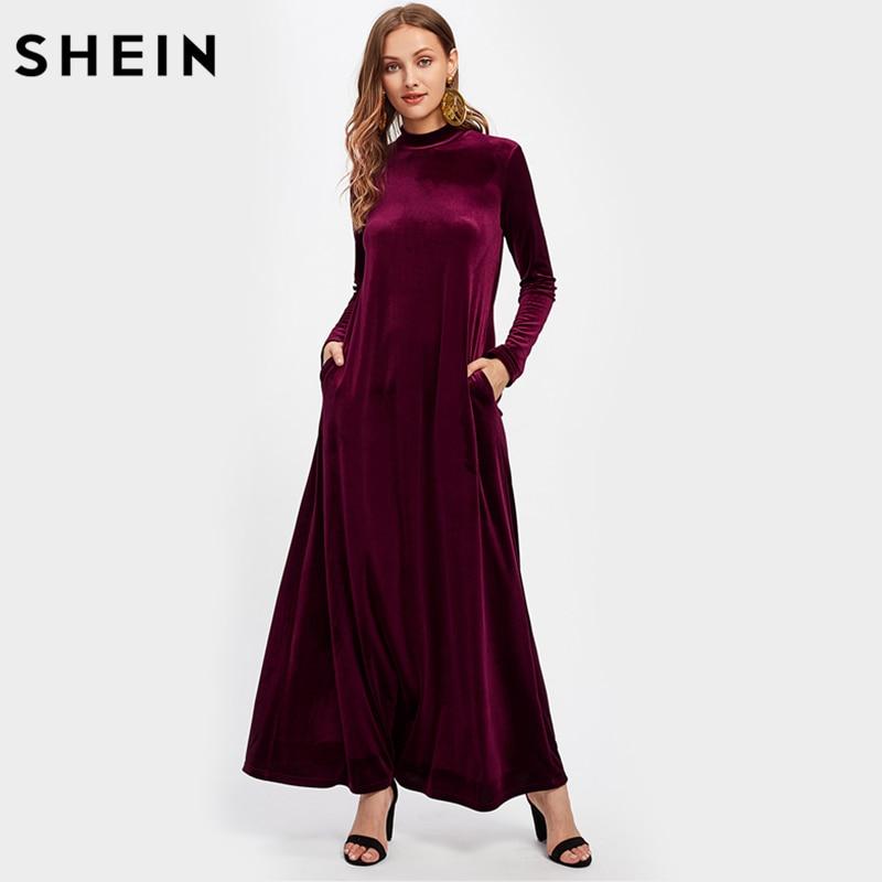 SHEIN Mock Neck Pocket Side Velvet Kaftan Dress Burgundy Women Long Dress Autumn 2017 Long Sleeve