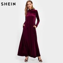 Шеин макет Средства ухода за кожей Шеи карман сбоку бархат кафтан платье бордовый Для женщин длинное платье осень 2017 с длинным рукавом Макси платье