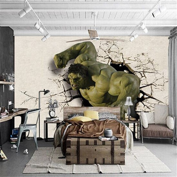 Hulk Mural 3D café Internet Taekwondo deportes boxeo papel pintado de gimnasio de la habitación de los niños de dibujos animados de papel