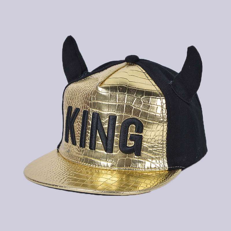 2018 New Fashion Children Hat Cartoon KING Ox Horn Fight Color Hip Hop   Cap   Boy&Girl Hat Cortical Flat Edge Hip Hop   Baseball     Cap