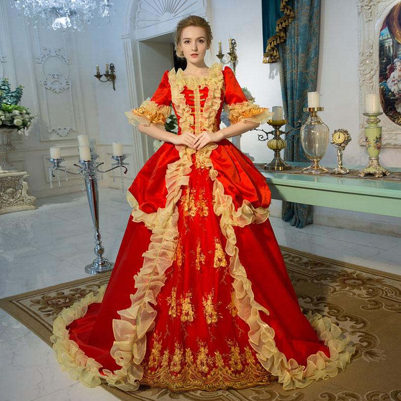 Personnalisé 2018 rouge à manches courtes à volants longue robe Renassiance médiévale Rococo Marie Antoinette période robe de soirée