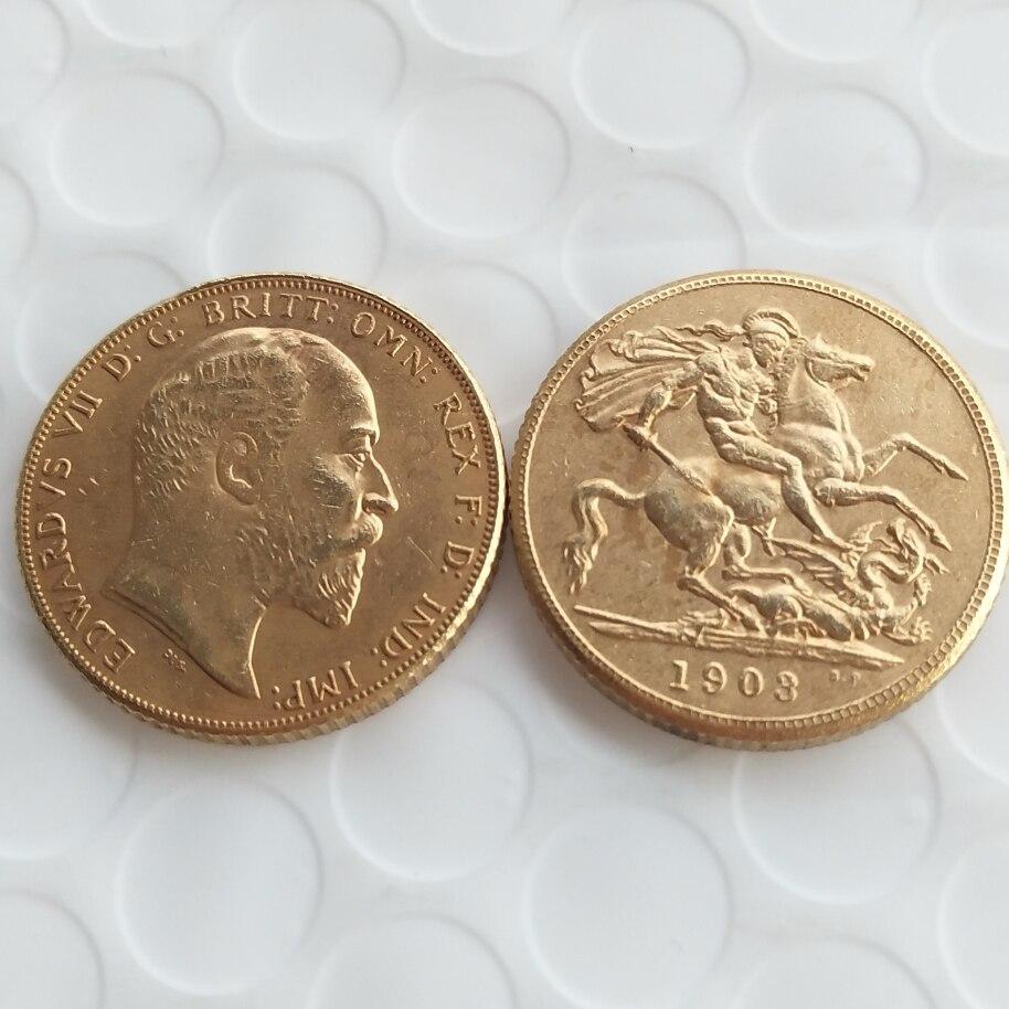 RARE 1903 KING EDWARD VII MATT PROOF GOLD 1 SOVEREIGN (1LSD) COPY COINS